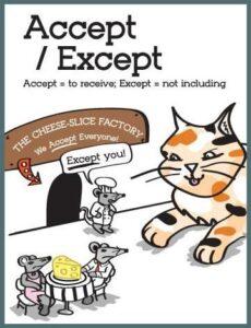 ACET Accept vs except